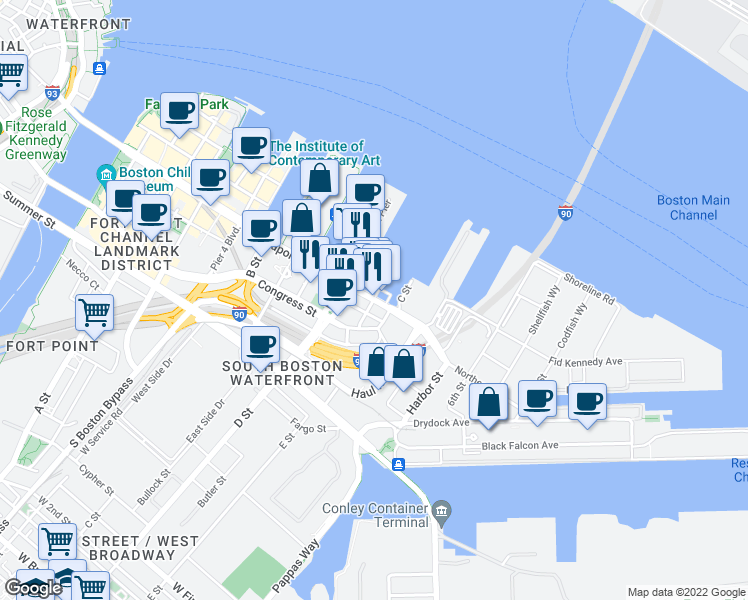 map of restaurants, bars, coffee shops, grocery stores, and more near Northern Ave & Harborview Ln in Boston
