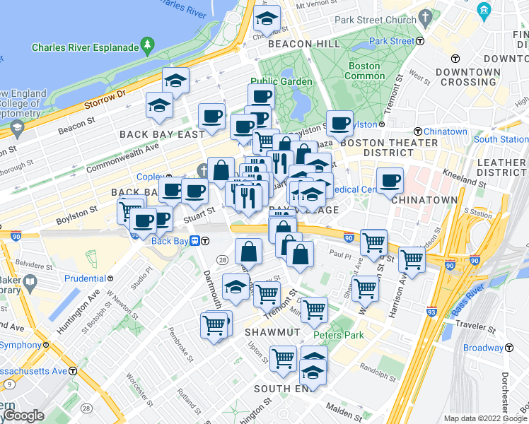 map of restaurants, bars, coffee shops, grocery stores, and more near Columbus Ave & Berkeley St in Boston