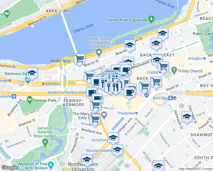 map of restaurants, bars, coffee shops, grocery stores, and more near Newbury Street & Hereford Street in Boston