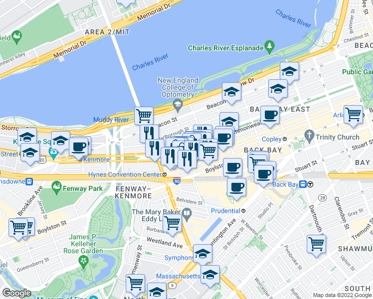 map of restaurants, bars, coffee shops, grocery stores, and more near Commonwealth Avenue & Hereford Street in Boston