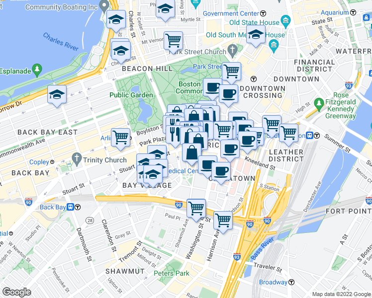 map of restaurants, bars, coffee shops, grocery stores, and more near Stuart St & Warrenton St in Boston