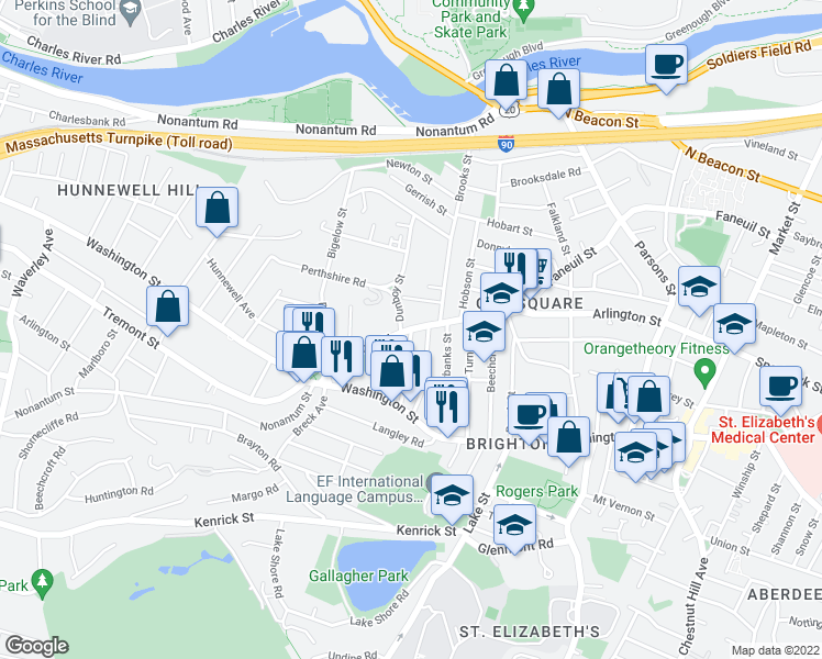 map of restaurants, bars, coffee shops, grocery stores, and more near Faneuil St & Montfern Ave in Boston