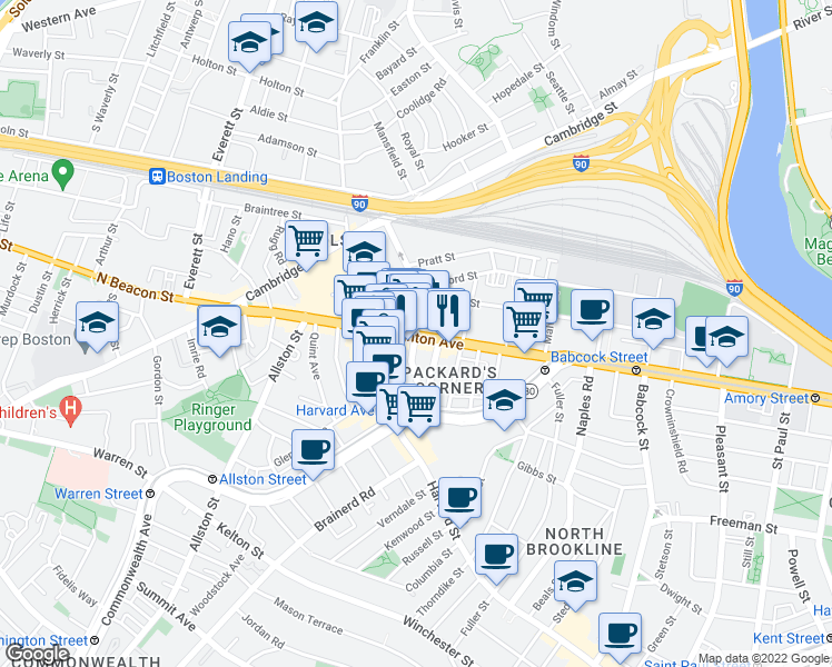 map of restaurants, bars, coffee shops, grocery stores, and more near Brighton Avenue & Linden Street in Boston
