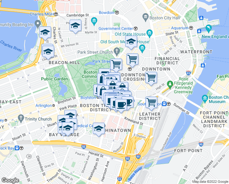 map of restaurants, bars, coffee shops, grocery stores, and more near 138-146 Kingston Street in Boston