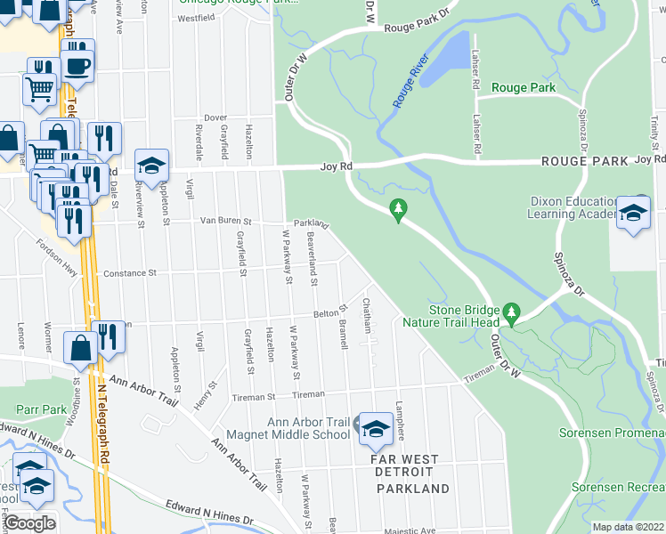 map of restaurants, bars, coffee shops, grocery stores, and more near Bramell in Detroit