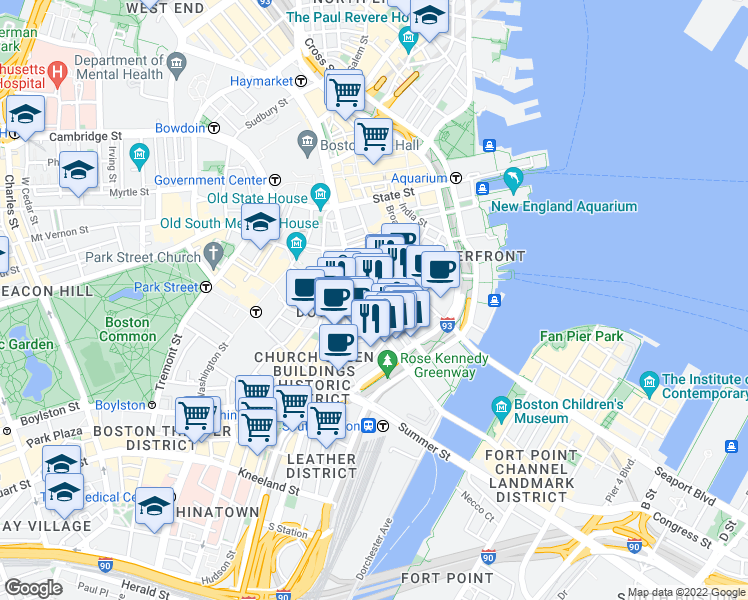 map of restaurants, bars, coffee shops, grocery stores, and more near Franklin Street in Boston