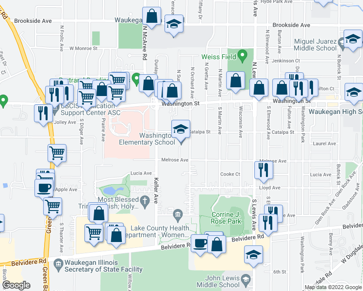 map of restaurants, bars, coffee shops, grocery stores, and more near 110 S Orchard Ave in Waukegan