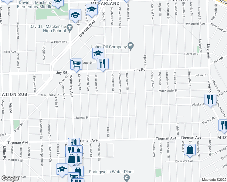 map of restaurants, bars, coffee shops, grocery stores, and more near 8518 Ohio Street in Detroit