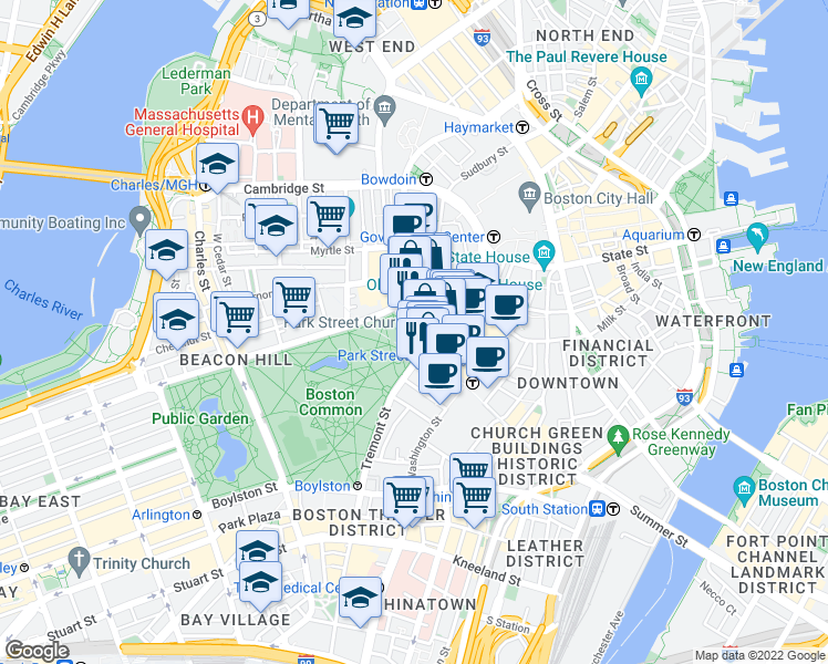 map of restaurants, bars, coffee shops, grocery stores, and more near Park Street in Boston