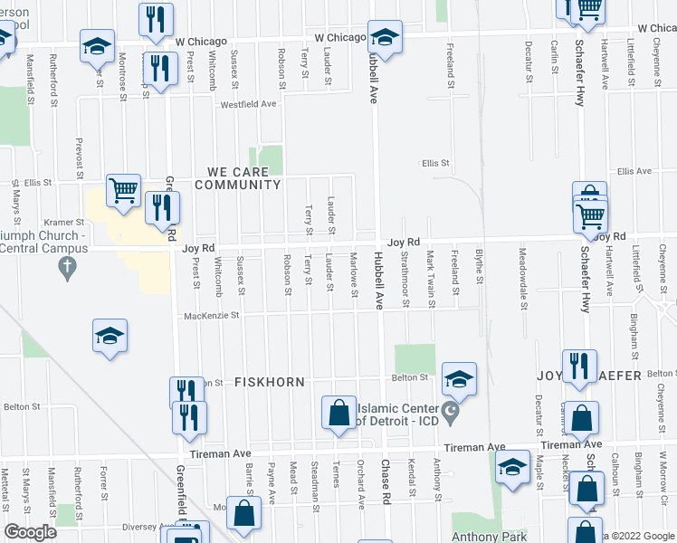 map of restaurants, bars, coffee shops, grocery stores, and more near 8594 Lauder Street in Detroit