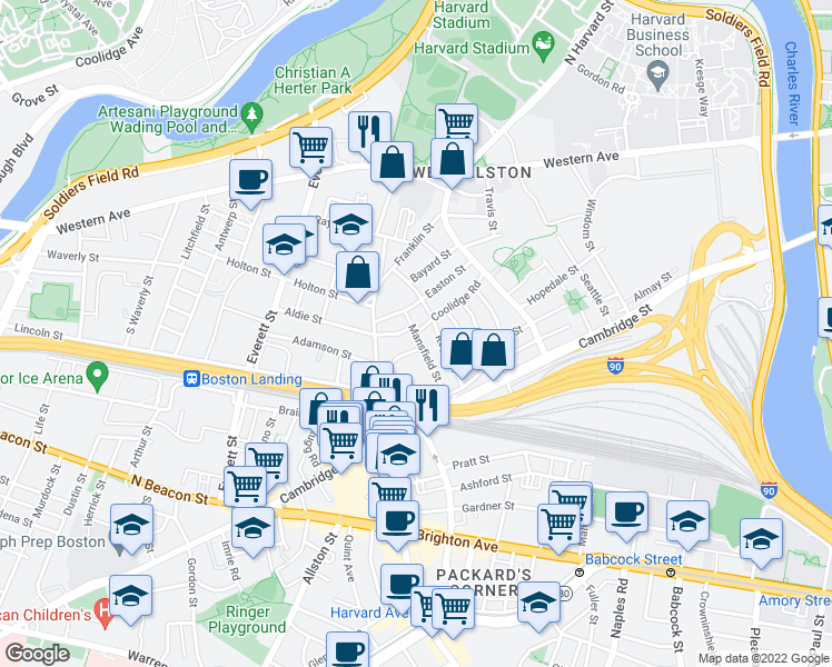 map of restaurants, bars, coffee shops, grocery stores, and more near Coolidge Rd & Mansfield St in Boston