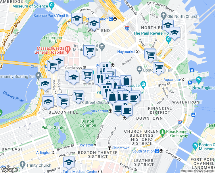 map of restaurants, bars, coffee shops, grocery stores, and more near 8 Ashburton Place in Boston