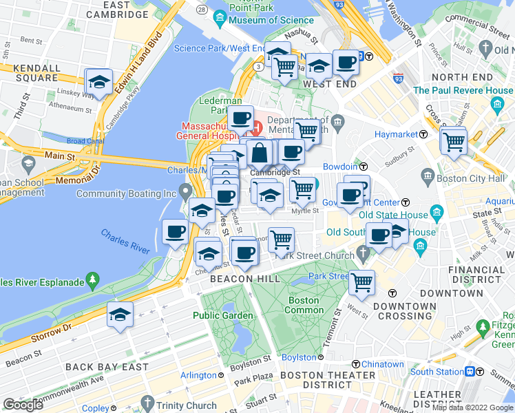 map of restaurants, bars, coffee shops, grocery stores, and more near Revere St & Grove St in Boston