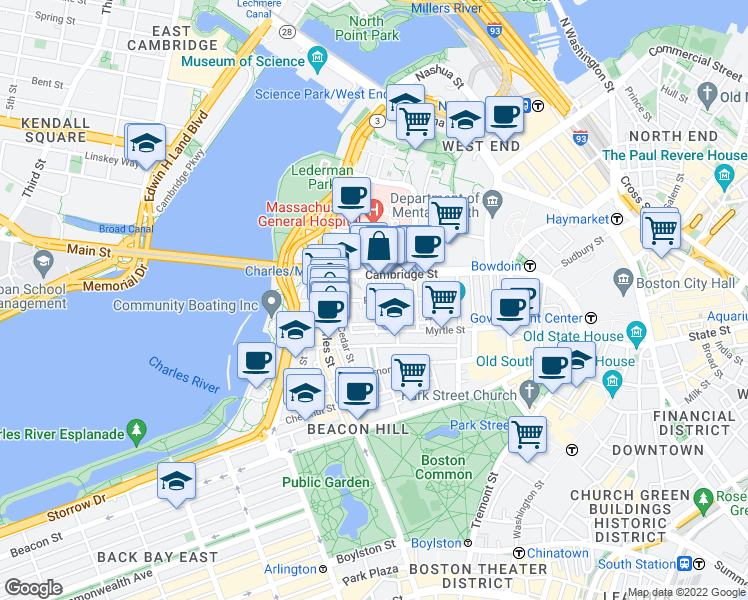 map of restaurants, bars, coffee shops, grocery stores, and more near Phillips Street & Grove Street in Boston