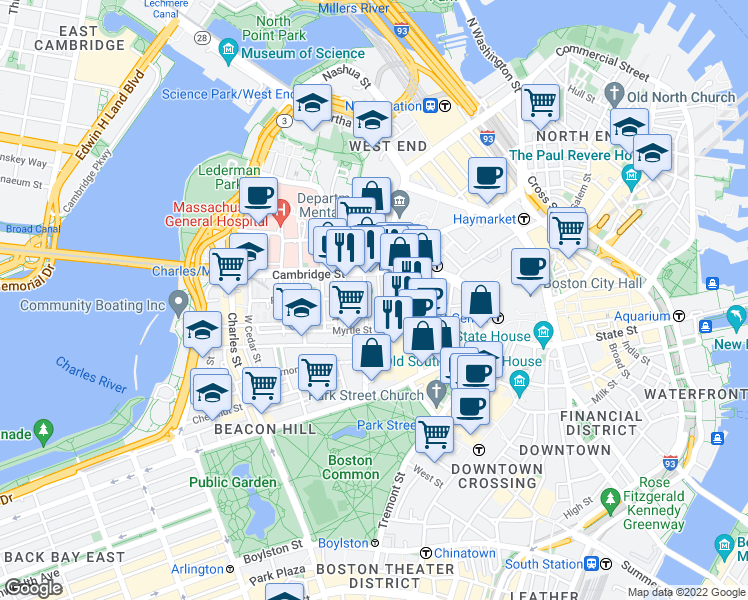 map of restaurants, bars, coffee shops, grocery stores, and more near 23 Ridgeway Lane in Boston
