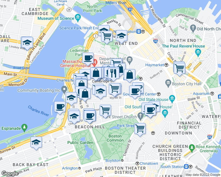 map of restaurants, bars, coffee shops, grocery stores, and more near Phillips St & Irving St in Boston