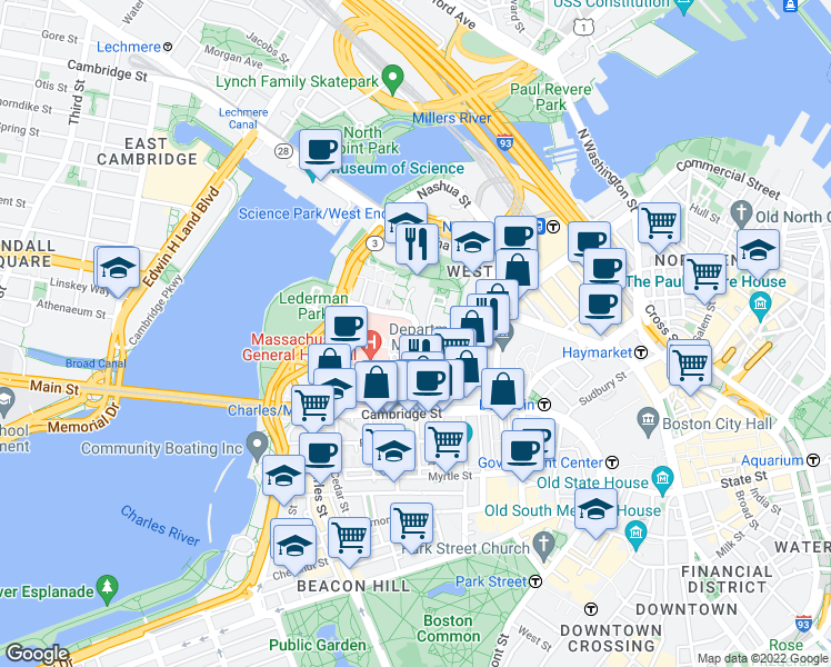 map of restaurants, bars, coffee shops, grocery stores, and more near Blossom Street in Boston