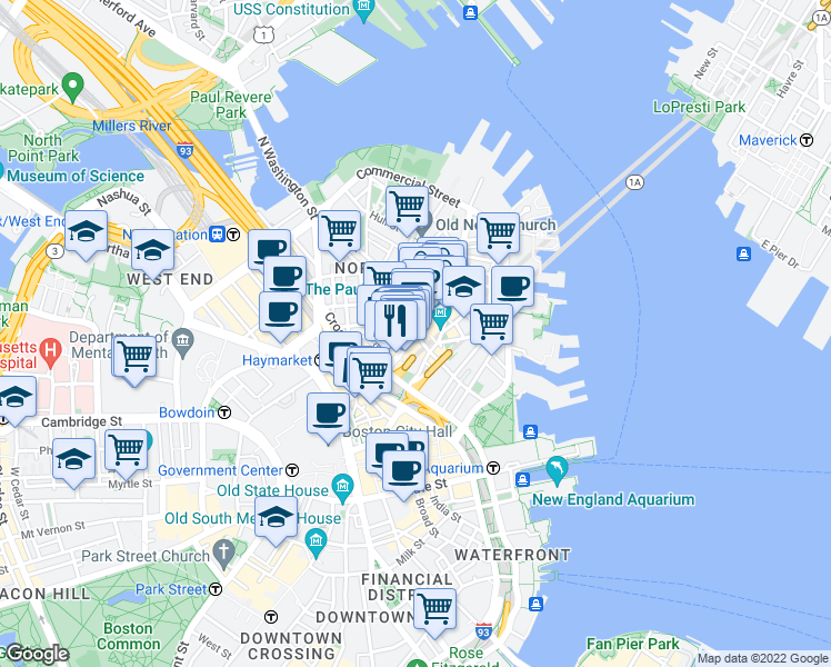 map of restaurants, bars, coffee shops, grocery stores, and more near Hanover St & Parmenter St in Boston