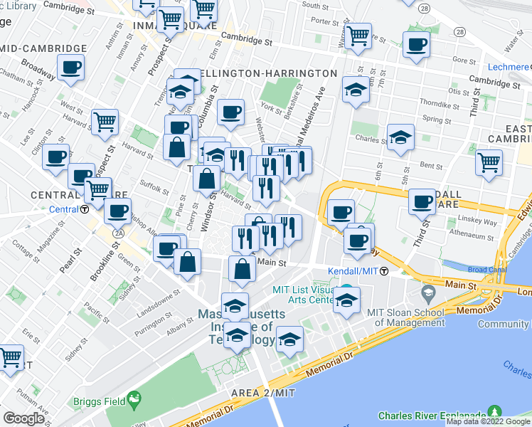 map of restaurants, bars, coffee shops, grocery stores, and more near 113 Harvard St in Cambridge