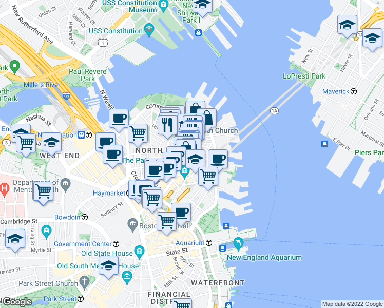 map of restaurants, bars, coffee shops, grocery stores, and more near Hanover St & Clark St in Boston