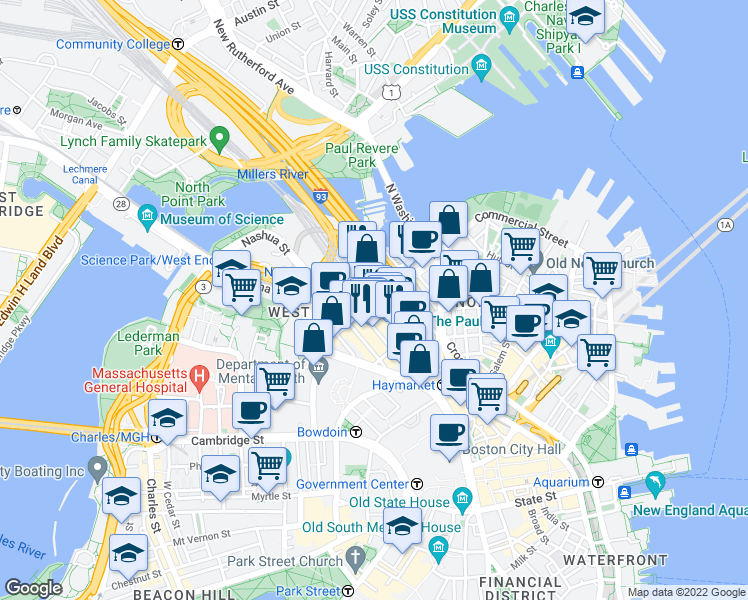 map of restaurants, bars, coffee shops, grocery stores, and more near Causeway St & Canal St in Boston