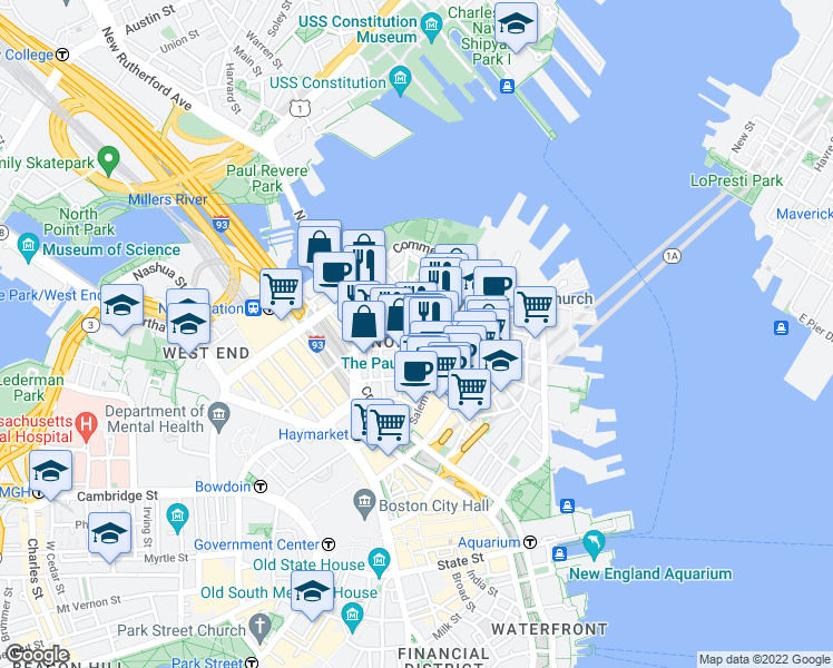 map of restaurants, bars, coffee shops, grocery stores, and more near 90 Prince Street in Boston