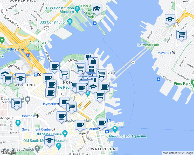 map of restaurants, bars, coffee shops, grocery stores, and more near Salutation Street in Boston