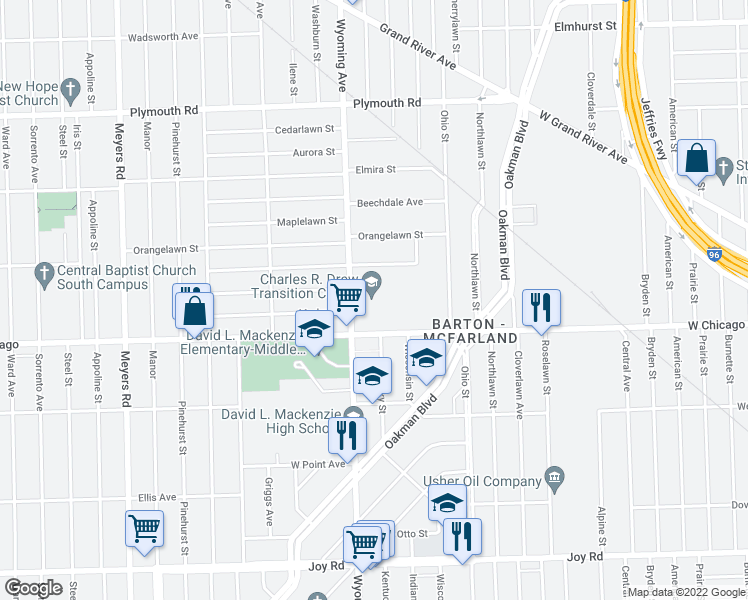 map of restaurants, bars, coffee shops, grocery stores, and more near 9600 Wyoming Street in Detroit