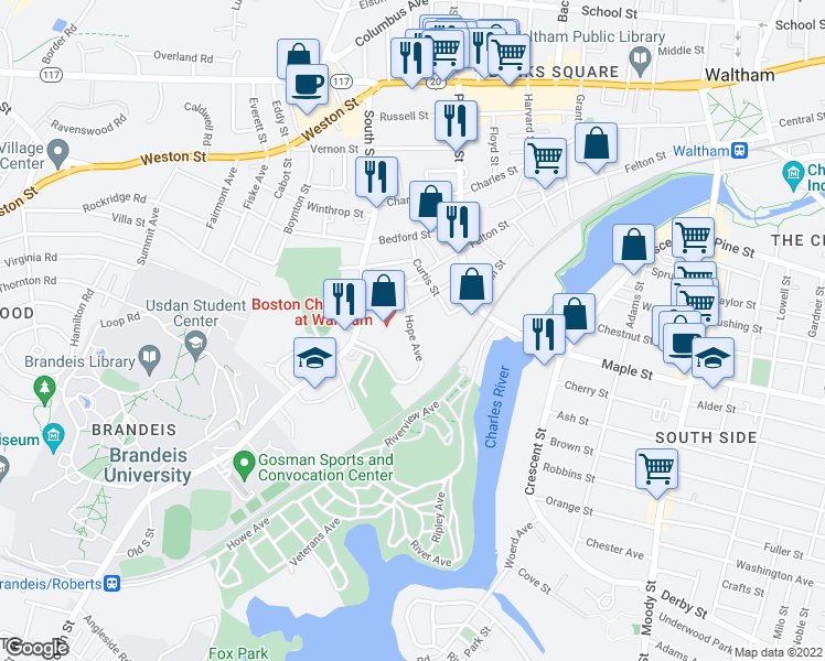 map of restaurants, bars, coffee shops, grocery stores, and more near in Waltham