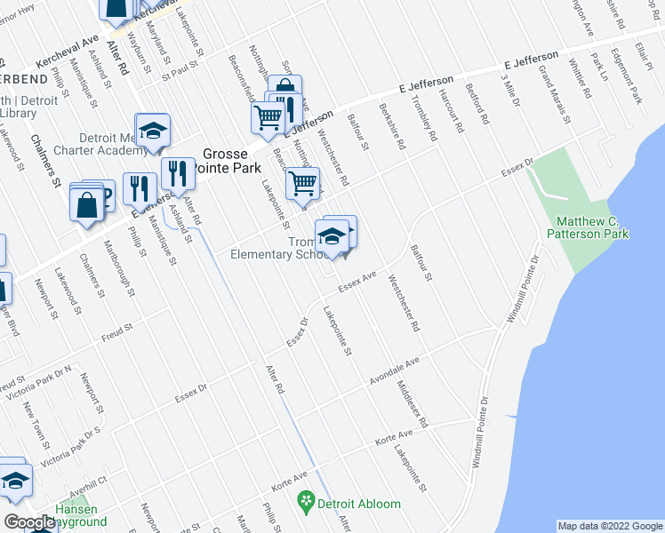 map of restaurants, bars, coffee shops, grocery stores, and more near 816-820 Beaconsfield Avenue in Grosse Pointe Park