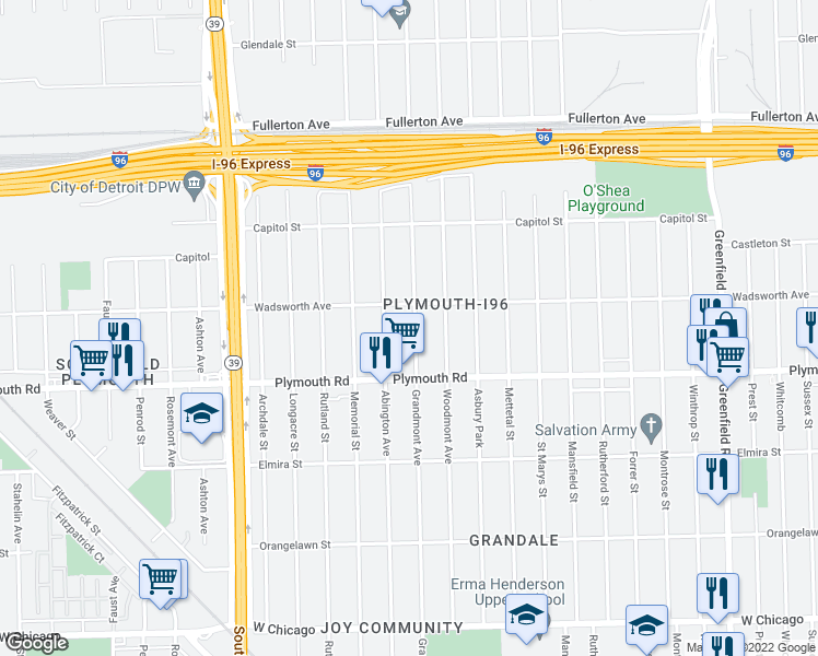 map of restaurants, bars, coffee shops, grocery stores, and more near 11701 Grandmont Avenue in Detroit