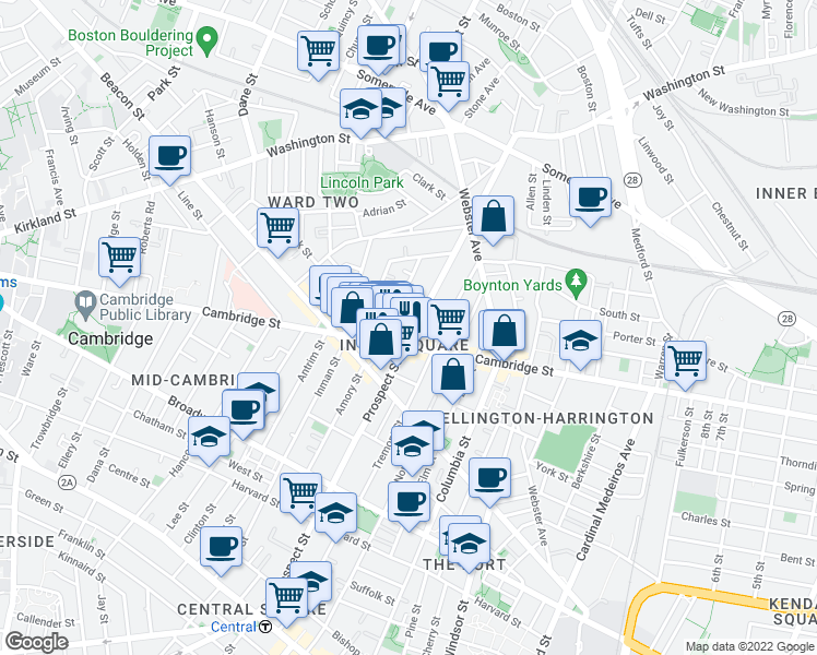 map of restaurants, bars, coffee shops, grocery stores, and more near 22 Clary Street in Cambridge
