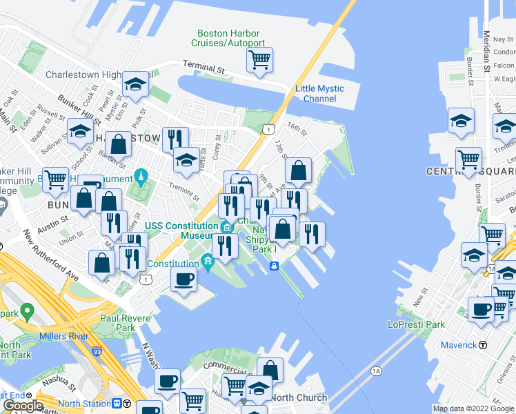 map of restaurants, bars, coffee shops, grocery stores, and more near 1st Avenue in Boston