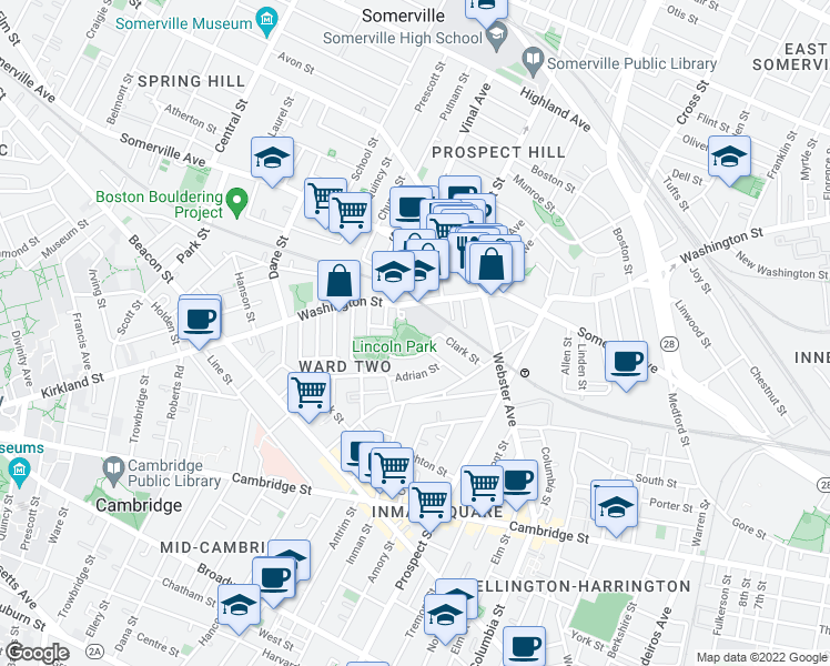map of restaurants, bars, coffee shops, grocery stores, and more near 27 Joseph Street in Somerville