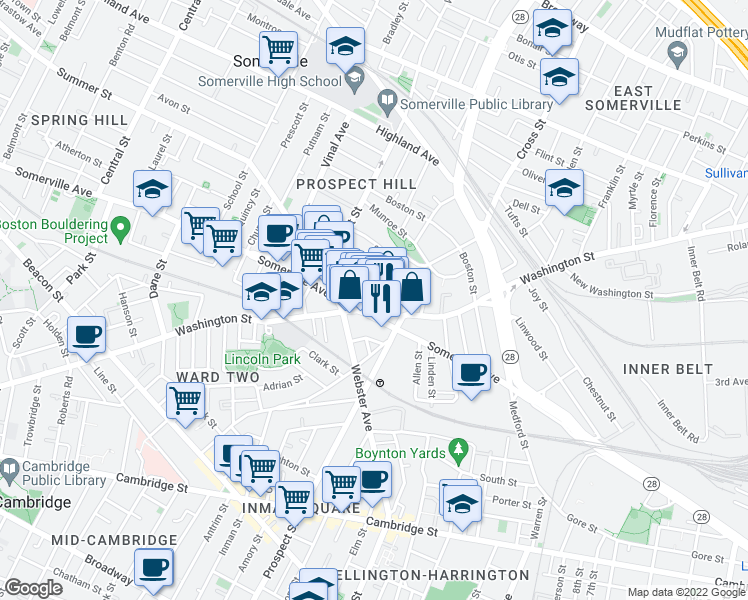 map of restaurants, bars, coffee shops, grocery stores, and more near 70 Union Square in Somerville