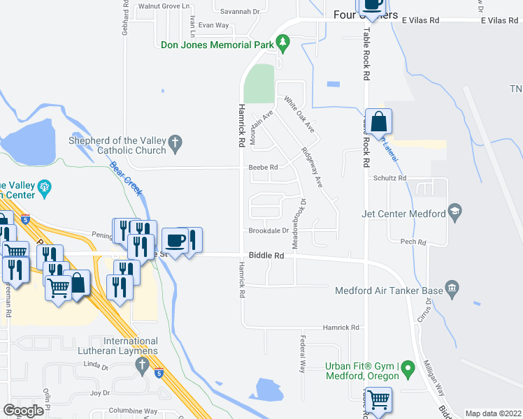 map of restaurants, bars, coffee shops, grocery stores, and more near 2535 Mistletoe Ct in Central Point