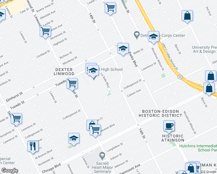 map of restaurants, bars, coffee shops, grocery stores, and more near Lasalle Street in Detroit
