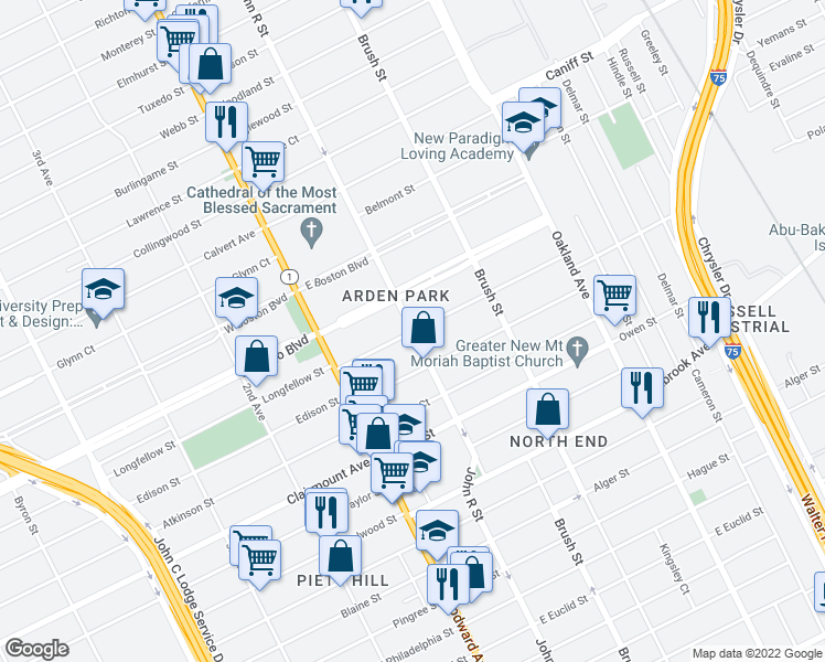 map of restaurants, bars, coffee shops, grocery stores, and more near John R St & Westminster St in Detroit