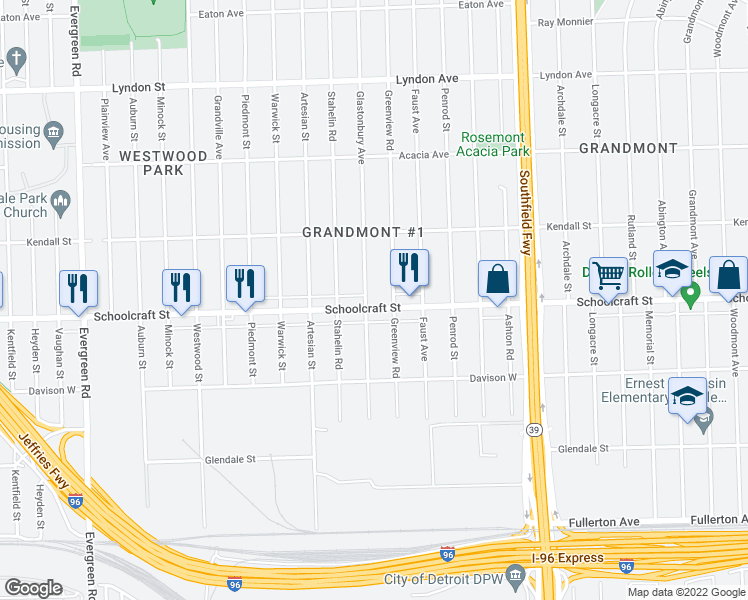 map of restaurants, bars, coffee shops, grocery stores, and more near 18646 Schoolcraft in Detroit