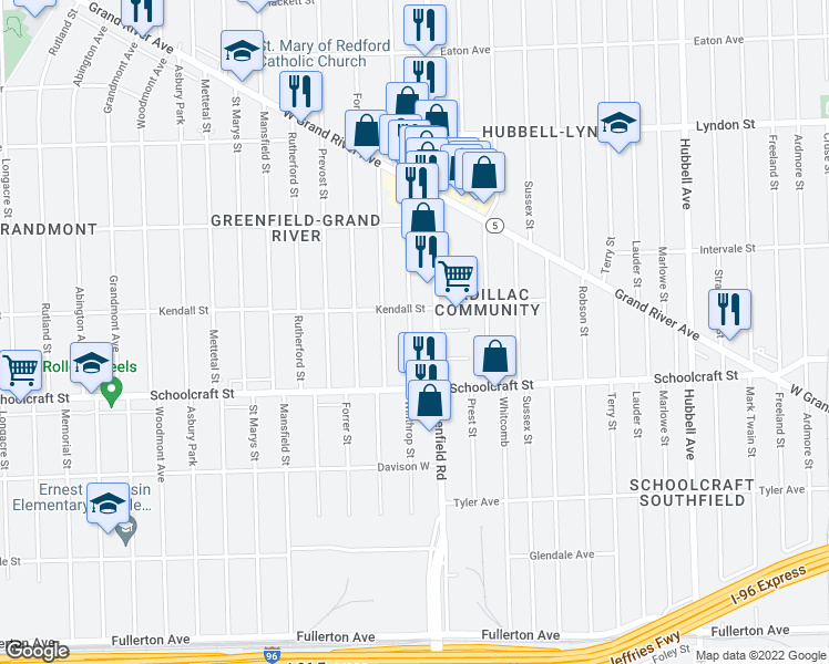 map of restaurants, bars, coffee shops, grocery stores, and more near 14010 Winthrop Street in Detroit