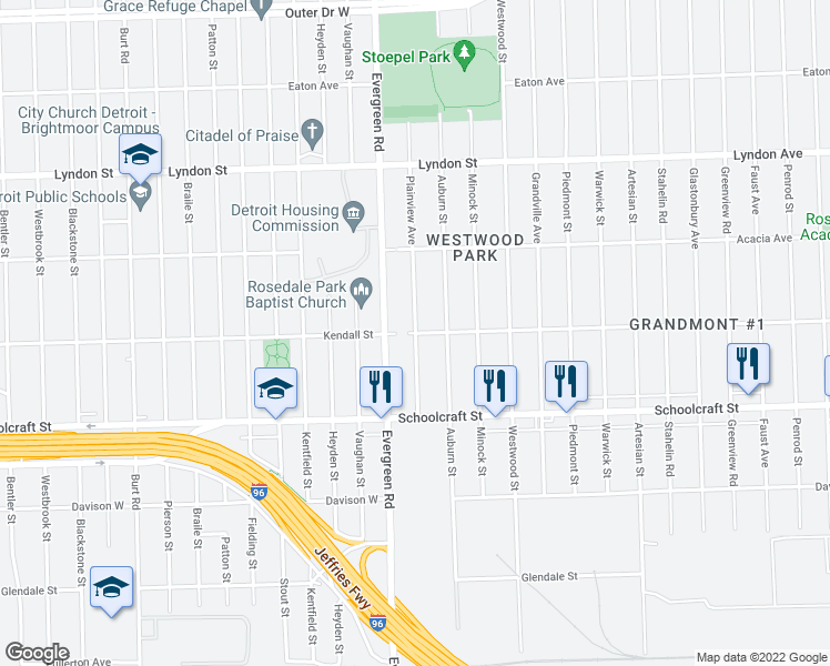 map of restaurants, bars, coffee shops, grocery stores, and more near Plainview Avenue in Detroit
