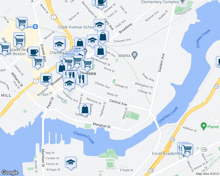 map of restaurants, bars, coffee shops, grocery stores, and more near Chester Avenue in Chelsea