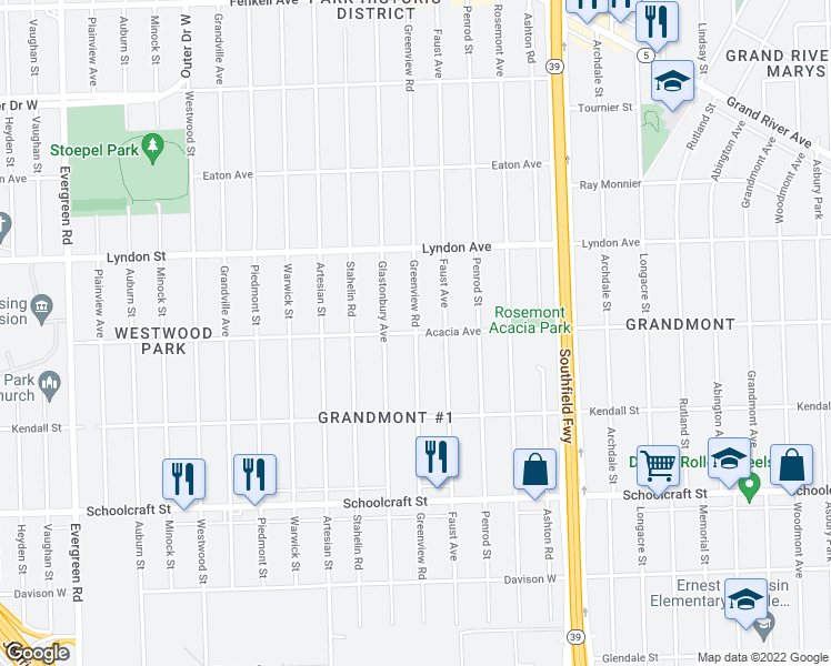 map of restaurants, bars, coffee shops, grocery stores, and more near Greenview Rd in Detroit