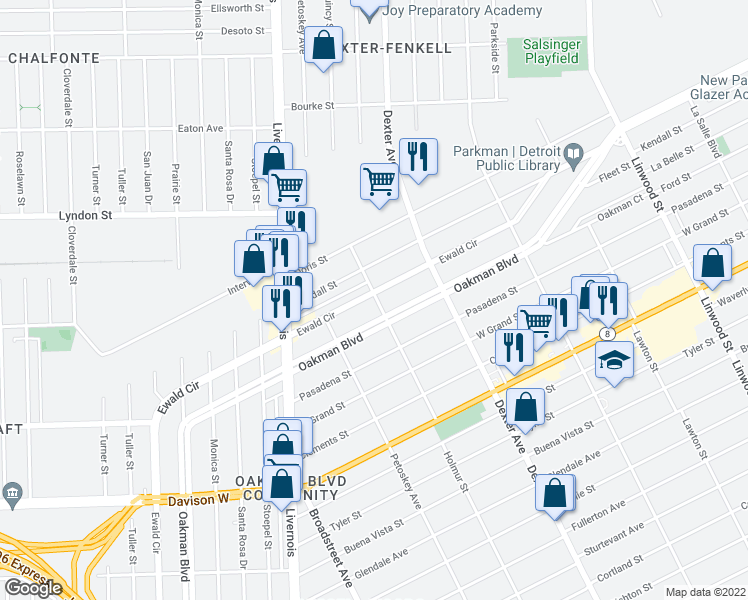 map of restaurants, bars, coffee shops, grocery stores, and more near 2341 Ewald Cir in Detroit