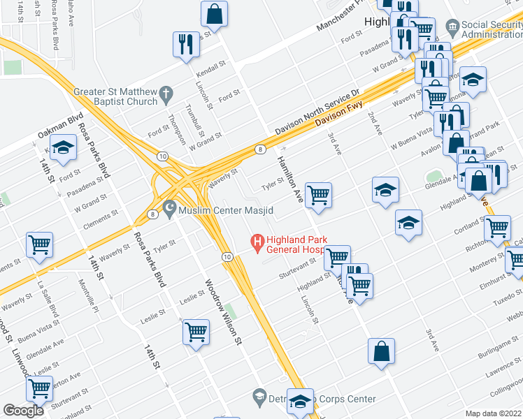 map of restaurants, bars, coffee shops, grocery stores, and more near 13199 Lincoln Street in Highland Park