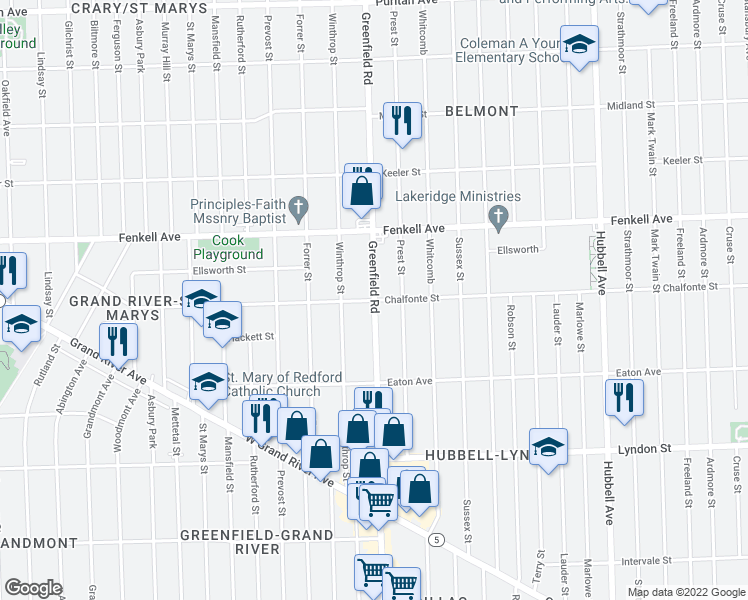 map of restaurants, bars, coffee shops, grocery stores, and more near Greenfield Rd & Chalfonte St in Detroit