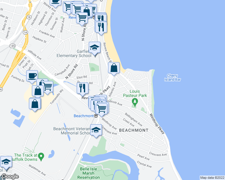 map of restaurants, bars, coffee shops, grocery stores, and more near Atlantic Ave & Wave Ave in Revere