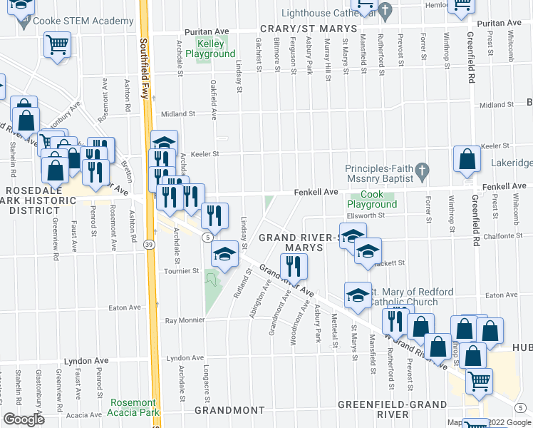map of restaurants, bars, coffee shops, grocery stores, and more near 15030 Biltmore Street in Detroit