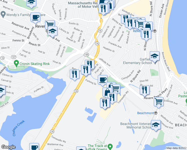 map of restaurants, bars, coffee shops, grocery stores, and more near Pratt Ct & Pratt St in Revere