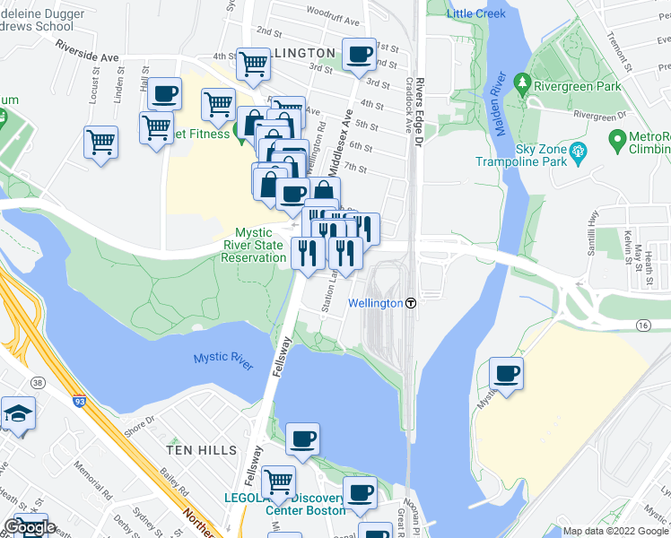 map of restaurants, bars, coffee shops, grocery stores, and more near 50 Station Landing in Medford